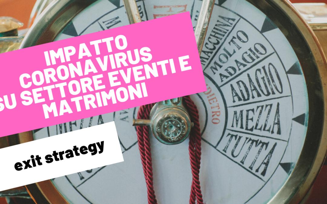 IMPATTO CORONAVIRUS SU SETTORE EVENTI E MATRIMONI | exit strategy